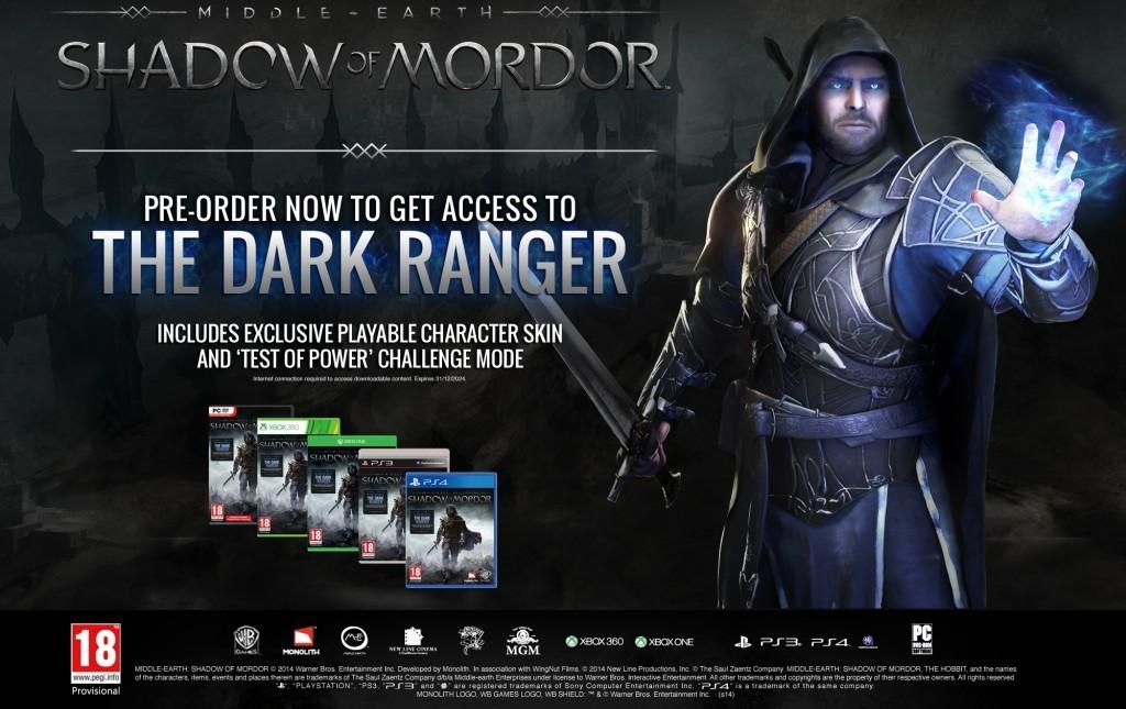 Middle-earth Shadow of Mordor Pre-order Bonus