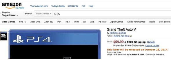 Grand Theft Auto V Amazon Date