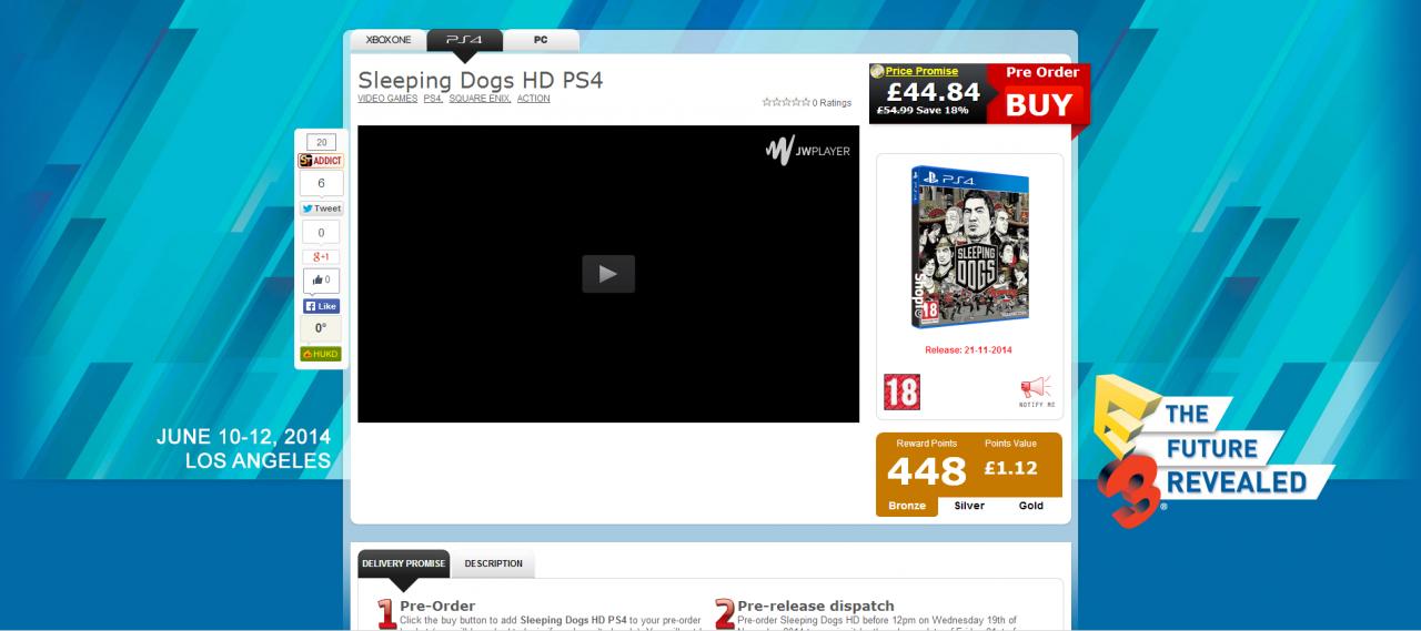 Sleeping Dogs HD PS4 ShopTo