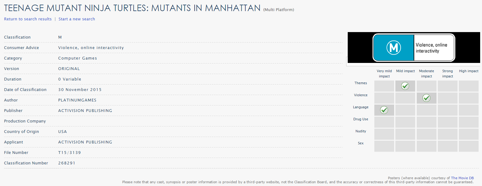 TEENAGE MUTANT NINJA TURTLES MUTANTS IN MANHATTAN - Australian Rating Board