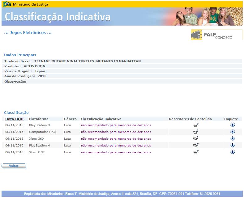 TEENAGE MUTANT NINJA TURTLES MUTANTS IN MANHATTAN - Brazil Rating Board