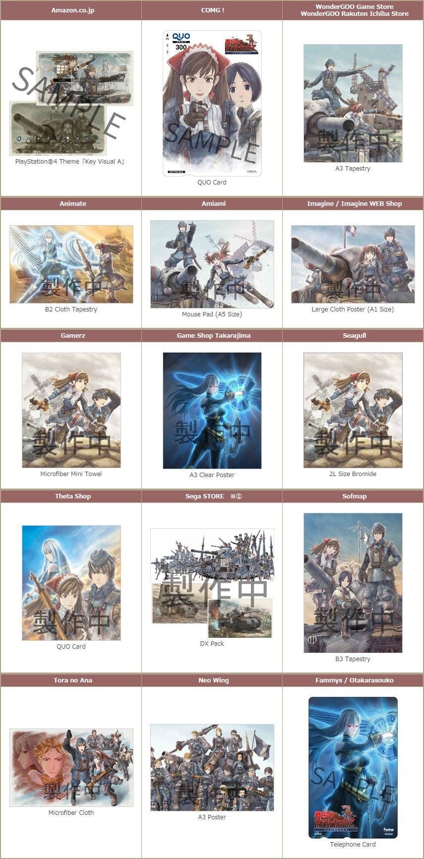 Valkyria Chronicles Remaster Shop Bonuses Japan